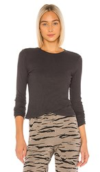 Monrow Baby Thermal Cross Over Top In Charcoal. Faded Black