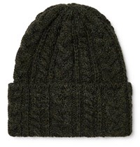 Drakes Drake's Cable Knit Wool Beanie Green