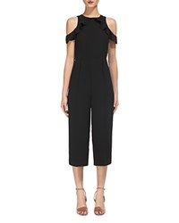 Whistles Mia Cold Shoulder Jumpsuit Black