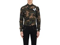 Valentino Men's Camouflage And Butterfly Cotton Shirt Dark Green