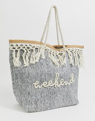 South Beach Tote Bag With Cream Tassel Fringe Grey