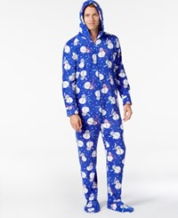 Family Pajamas Men's Supersoft Snowman Hooded And Footed Only At Macy's Blue Snowman