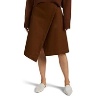 Cotton Twill A Line Wrap Skirt Brown