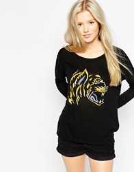 Rvca Roaring Tiger Long Sleeve T Shirt Black