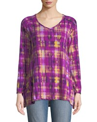 Melissa Masse Checkered V Neck A Line Easy Top Multi