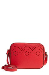 Draper James Scallop Faux Leather Camera Bag Red Lollipop Red