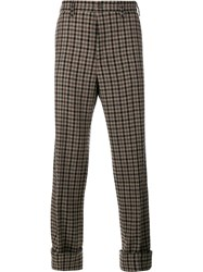 Gucci Checked Trousers Brown