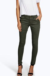 Boohoo Cropped Low Rise Utility Skinny Jeans Khaki