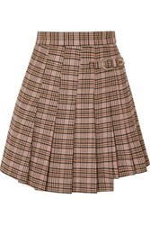 Maje Jilo Buckled Pleated Checked Tweed Mini Skirt Ecru