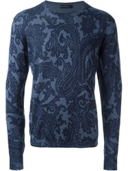 Etro Paisley Print Sweater Blue