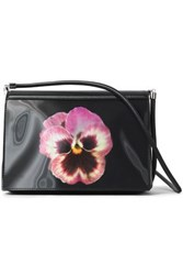 Christopher Kane Pvc Paneled Floral Print Leather Shoulder Bag Black