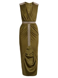 Balmain Wrap Front Embellished V Neck Dress Khaki