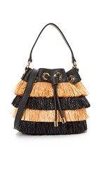 Milly Raffia Bucket Bag Black Multi