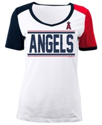 5Th And Ocean Women's Los Angeles Angels Cb Sleeve T Shirt White Red Navy