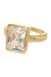 Mistraya Jewelry Fancy Cut White Cz Gold Clad Evelyn Ring