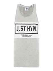 Hype Regular Fit Panel Print Crew Neck Sporting Vest Grey Marl