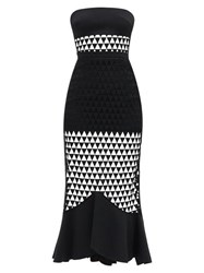 David Koma Strapless Triangle Tulle And Cady Dress Black