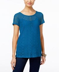 Inc International Concepts Mixed Knit Illusion Top Only At Macy's Caribe Blue