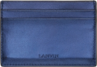 Lanvin Navy Metallic Leather Card Holder