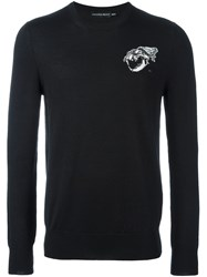 Alexander Mcqueen Tiger Skull Embroidered Jumper Black