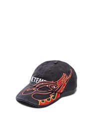 Vetements Flame Embroidered Cotton Baseball Cap Black