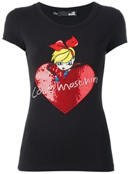 Love Moschino Sequin Embellished T Shirt Black
