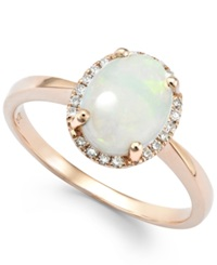 Macy's Opal 1 Ct. T.W. And Diamond Accent Oval Ring In 14K Rose Gold