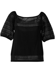 Blumarine Knitted Top Women Cotton Polyester Polyimide 42 Black
