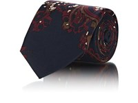 Fairfax Abstract Paisley Silk Faille Necktie Navy