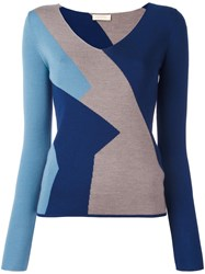 Wunderkind Colour Block Knitted Top Blue