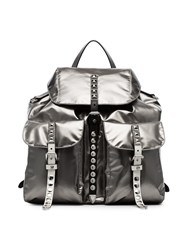 Prada Studded Strap Backpack Metallic
