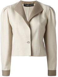 Louis Feraud Vintage Fitted Tonal Jacket Nude And Neutrals