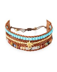 Chan Luu Three Strand Pull Tie Bracelet In Turquoise