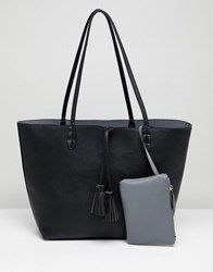Street Level Reversible Black And Grey Tassel Tote Bag