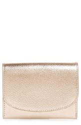 Nordstrom Leather Card Case Metallic Rose Gold