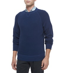 Billy Reid Fisher Crewneck Wool Sweater Navy