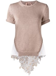 N 21 No21 Layered Effect Cut Out Back Top Nude Neutrals