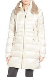 Via Spiga Women's Stand Collar Down Jacket With Removable Faux Fur Trim Sugar