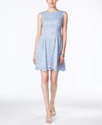 Vince Camuto Sleeveless Boat Neck Lace Dress Light Blue