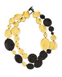 Viktoria Hayman Double Strand Disc Necklace Black Golden