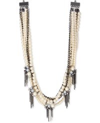 Inc International Concepts Hematite Tone Imitation Pearl And Chain Spike Statement Necklace Only At Macy's Gray