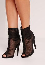Missguided Lace Peep Toe Ankle Boots Black Black