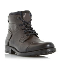Dune Calabash Padded Cuff Leather Lace Boots Grey