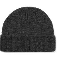 Lanvin Ribbed Merino Wool Beanie Dark Gray