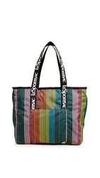 Le Sport Sac Lesportsac Candace North South Tote Rainbow Stripe