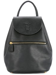 Fendi Vintage Logos Drawstring Backpack Black