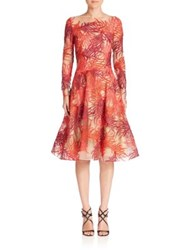 Naeem Khan Threadwork Long Sleeve Dress Coral