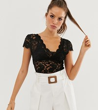 Stradivarius All Over Lace T Shirt In Black