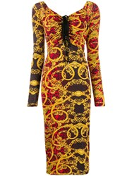 Versace Jeans Couture Baroque Leopard Print Ruched Dress 60