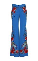 Roberto Cavalli Floral Stretch Cady Trousers Blue